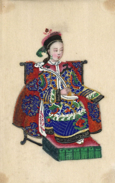 Antique 19th-century Chinese Pith Painting , Manchu Imperial Woman