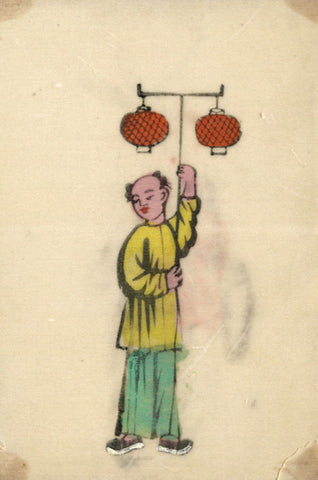 Antique 19th-century Chinese Woodblock Print on Pith, Boy with Lanterns