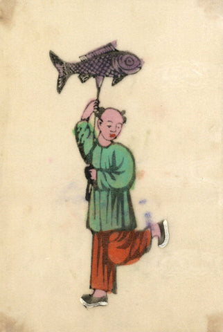 Antique 19th-century Chinese Woodblock Print on Pith, Boy with Fish Lantern