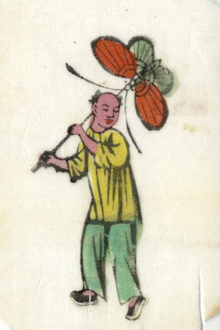 Antique 19th-century Chinese Woodblock Print on Pith, Boy with Butterfly Kite