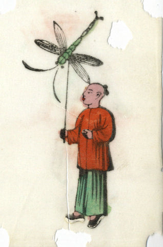 Antique 19th-century Chinese Woodblock Print on Pith, Boy with Dragonfly Kite