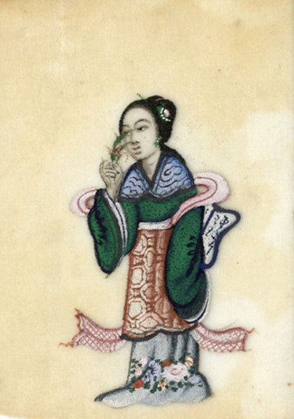 Antique 19th-century Chinese Pith Painting , Woman with Flower & Scarf