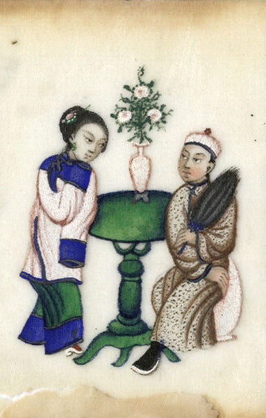 Antique 19th-century Chinese Pith Painting , Man & Woman by Table with Vase