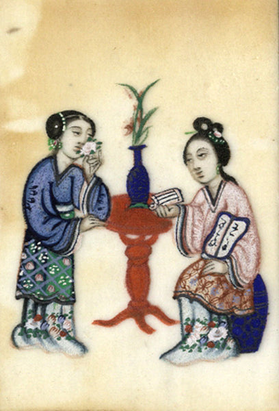 Antique 19th-century Chinese Pith Painting , Women by Table with Vase