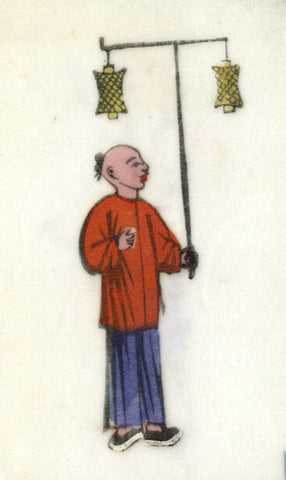 Antique 19th-century Chinese Woodblock Print on Pith, Boy with Yellow Lantern