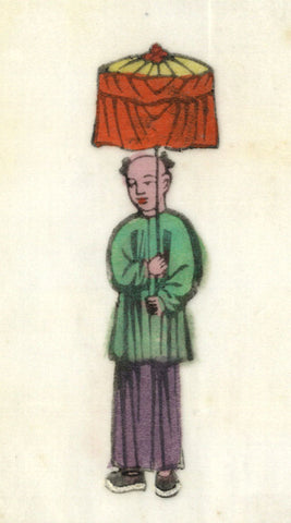 Antique 19th-century Chinese Woodblock Print on Pith, Boy with Orange Lantern