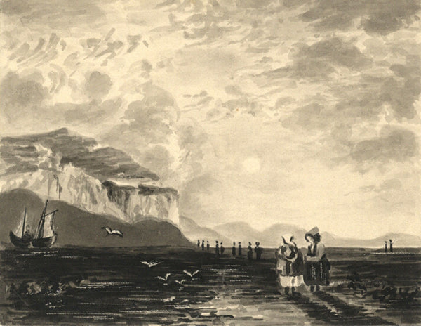 A.E.B., Sea Shore, Cornwall in Grisaille - Original 1834 watercolour painting