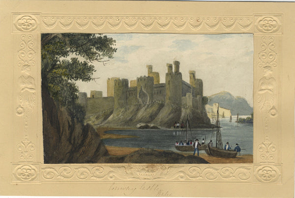 Conwy Castle, Wales - Original early 19th-century watercolour painting