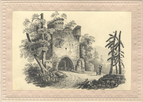 Figures at Castle Ruin - Original early 19th-century graphite drawing