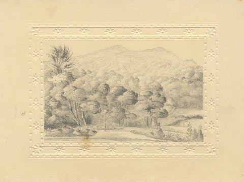 Wooded Mountain View - Original early 19th-century graphite drawing