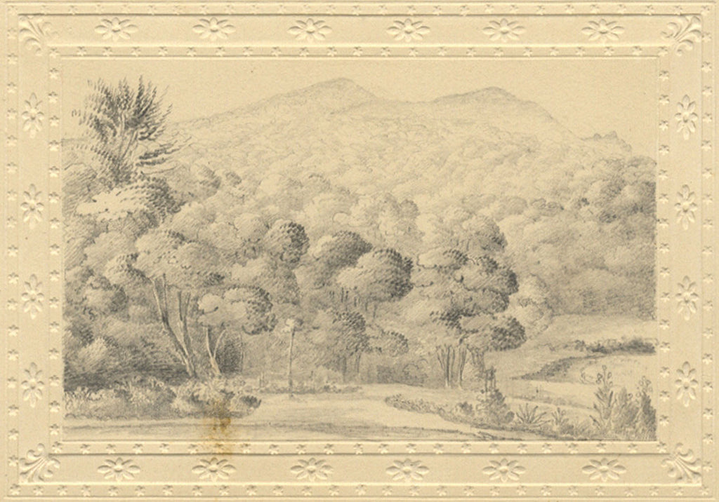 Wooded Mountain View Original Early 19th Century Graphite Drawing