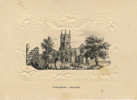 St Mary's Church, Eynesbury Cambs - Original early 19th-century pen & ink drawing
