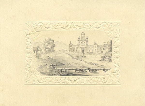 Country Estate - Original early 19th-century graphite drawing