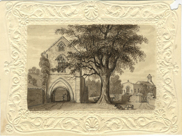 Abbey Gatehouse with Figures - Original early 19th-century watercolour painting