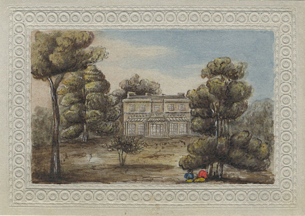 Georgian House with Resting Figures - Original early 19th-century watercolour painting