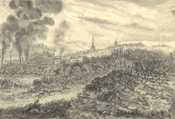 City View with Chimneys - Original early 19th-century graphite drawing