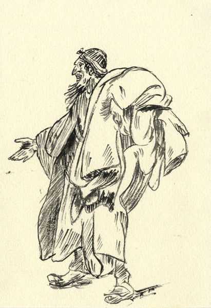 Cloth Merchant - Original 19th-century pen & ink drawing
