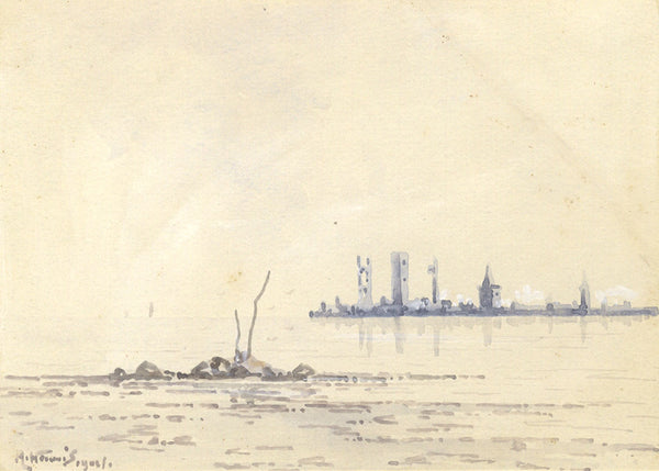 Arthur Harris, St Andrews from Eden Mouth - Original 1902 watercolour painting