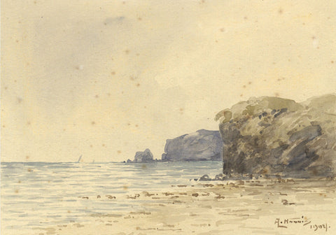 Arthur Harris, Cliffs, Auchmithie, Scotland - Original 1902 watercolour painting