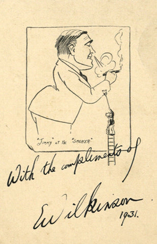 Wilkinson, Jimmy at the Smoker - Original 1931 lithograph print
