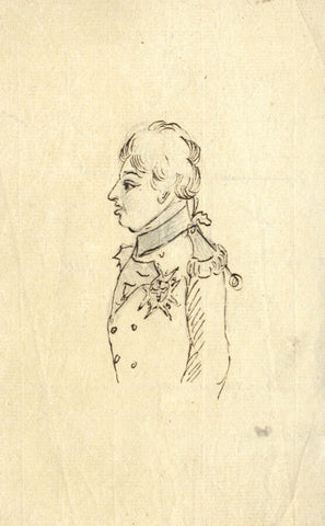 18th-century Army Officer Portrait - Original 19th-century pen & ink drawing