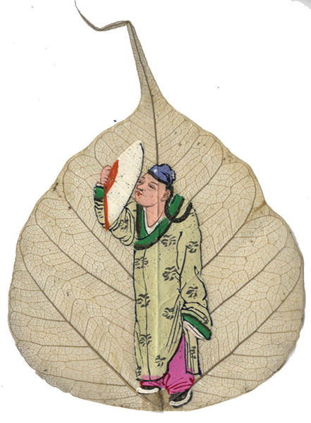 Man with Fan - Original 19th-century Chinese watercolour painting on peepal leaf
