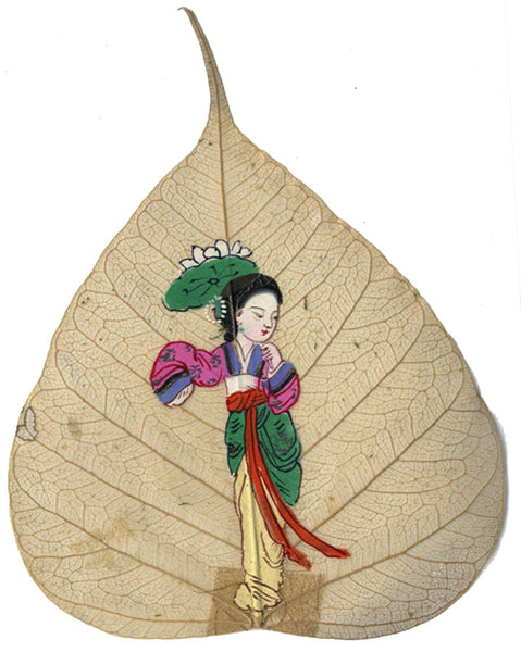 Woman & Lotus Flower - 19th-century Chinese watercolour painting on peepal leaf