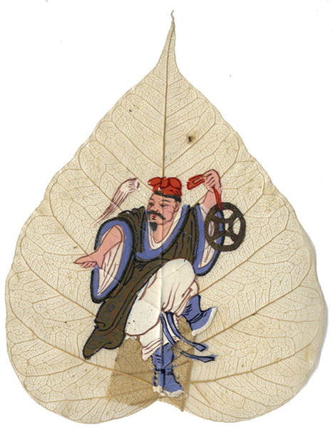 Dancing Man - Original 19th-century Chinese watercolour painting on peepal leaf