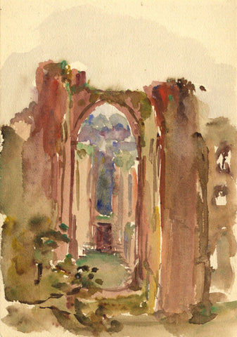 Conrad H.R. Carelli, Furness Abbey, Cumbria, Nave - Original 1907 watercolour painting