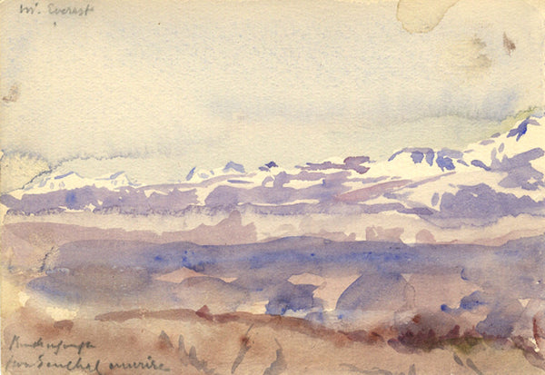 Conrad H.R. Carelli, Kangchenjunga from Senchal, India - Original 1907 watercolour painting