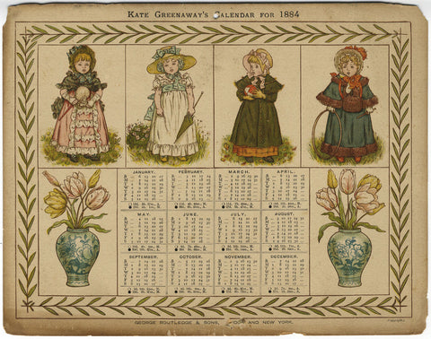 Kate Greenaway, Calendar for 1884 - Original 19th-century print