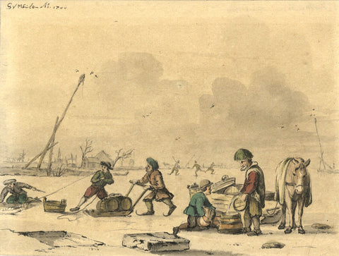 S. Vermeulen, Dutch School, Winter Skating Scene - Original 1700 watercolour painting