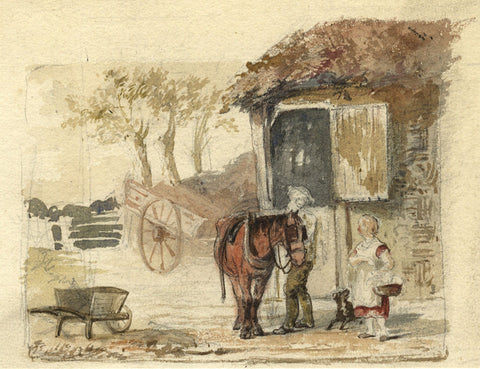 Stable Boy with Horse - Original 19th-century watercolour painting