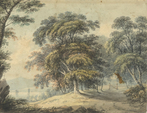James Gibbs of Bath, Landscape with Trees - Original early 19th-century watercolour painting