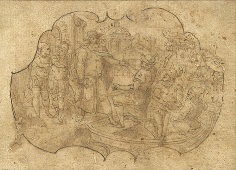Roman Scene - Original 17th-century pen & ink drawing