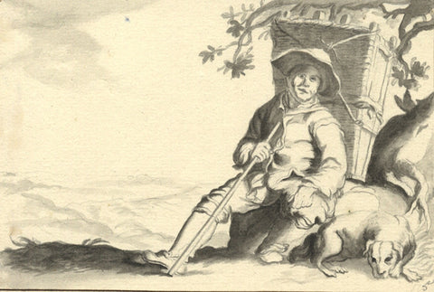 Resting Traveller with Dog in Grisaille - Original 18th-century watercolour painting