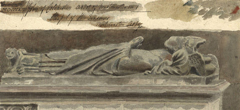 Tomb of John of Colchester, Westminster Abbey - Original 1812 watercolour painting