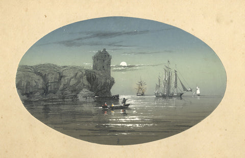 Moonlit Seascape with Boats - Original 19th-century graphite drawing