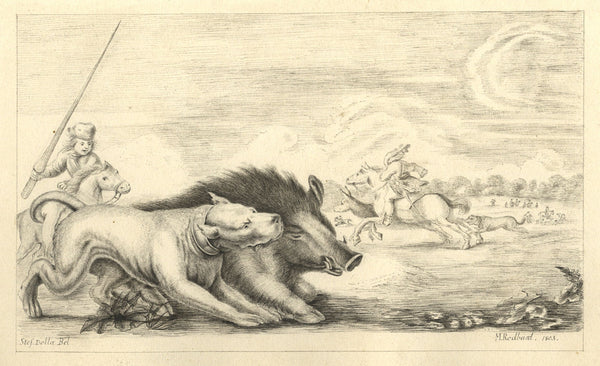M. Rodbard, Dutch School, Wild Boar Hunting - Original 1803 pen & ink drawing