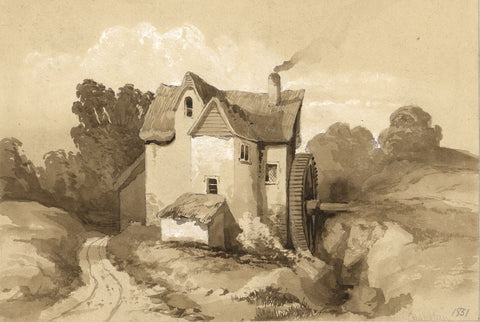 Houston, Sepia Watermill - Original 1851 watercolour painting