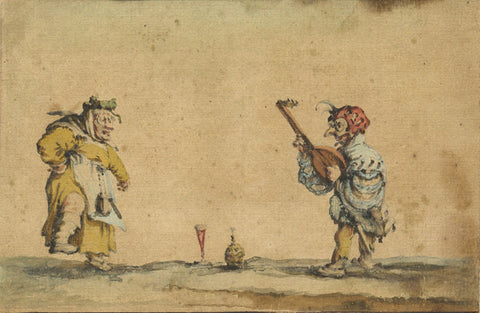 Follower of Jacques Callot, Masked Performers - Original 17th-century watercolour painting