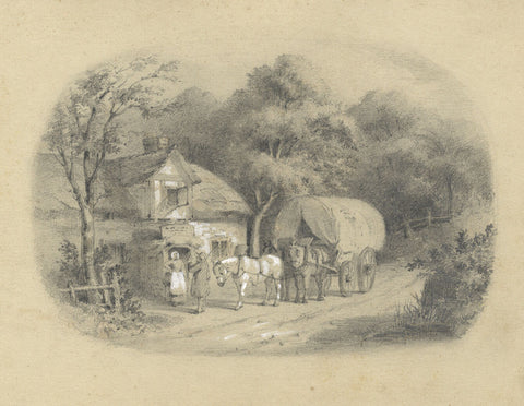 Cottage with Figures & Horse-drawn Wagon  - Original early 19th-century graphite drawing