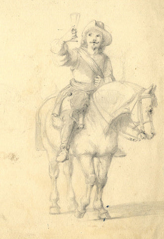 Flemish Man on Horseback - Original early 19th-century graphite drawing