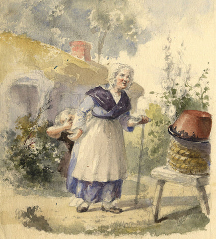Woman & Playful Child in Garden - Original early 19th-century watercolour painting