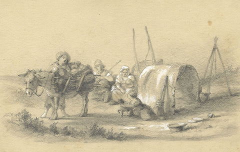 Dutch, Traveller Family with Mule - Original early 19th-century graphite drawing