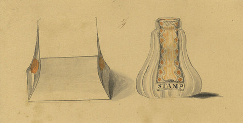 Design for Stamp - Original early 19th-century pen & ink drawing