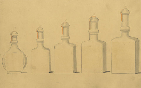 Design for Glass Bottles - Original early 19th-century pen & ink drawing
