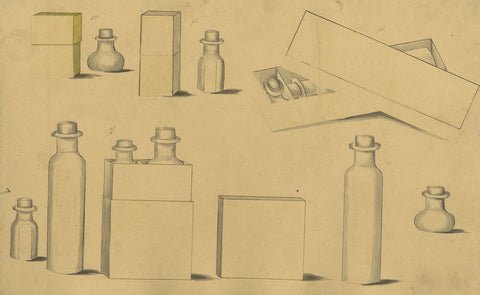 Design for Glass Bottles & Cases - Original early 19th-century pen & ink drawing