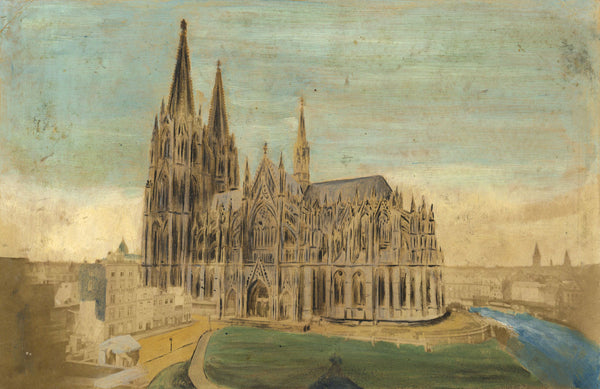 Cologne Cathedral, Germany - Original 19th-century painting over albumen print