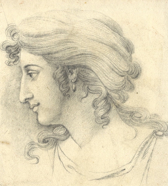 Classical Portrait of a Lady - Original 19th-century graphite drawing